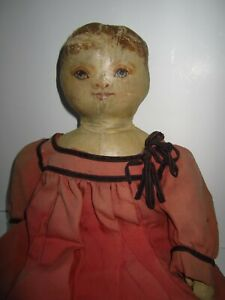 """Early Antique American 19"""" Cloth Doll Oil Painted Face Oil Cloth Americana Rare"""