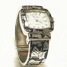 Cat Bangle Watch Cuff Bracelet Metal Silver Black Quartz Stainless Steel Square