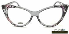 "NWT$39.99 MIASTO LARGE ""BIG CAT EYE "" READER READING GLASSES+2.00 GRAY BLACK"