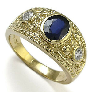 Etruscan Byzantine Style Men's Ring 10K Gold White & Blue Sapphire Ring #r1644