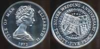 Isle Of Man, British Dependency, 1972 25 Pence (Wedding Anniversary) - Proof