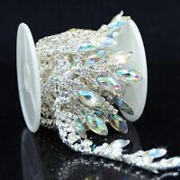 AB Resin Rhinestone Trim Chain Drop Applique for Wedding Dress Craft Decor 1Yard