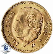 Mexiko 5 Pesos Gold 1955 bfr Goldmünze Miguel Hildago Münze in Münzkapsel