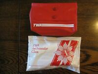 TWA Vintage Complimentary Amenity Toiletry Kits (2) Complete Hard to Find NOS