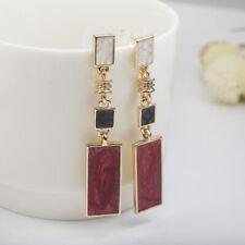 Elegant Long Rectangular Square Cut White Red Gold Drop Dangle Earring Jewelry