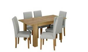 Home Miami Oak Effect Extending Table & 6 Grey Chairs