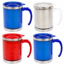 4 x 450ml Insulated Travel Camping Mug Cup Coffee Hot Drink Tea Handle Metal Lid