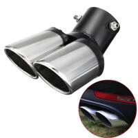 62mm Curve Twin Dual Exhaust Trim Double Tips Muffler Pipe Chrome Tail Universal