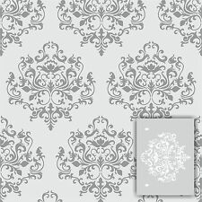 "Swirlypop Designs Damask1 wall stencil ** LARGE ** 12'x9"" Faux Mural Pattern"