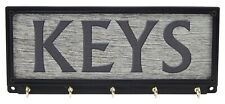 Keys Key Rack Holder Hanger Rustic Farmhouse Decor Print Wall Mount 5 Hooks