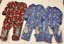 Lot Of 3 Size 4t footed Zipper Zip Up Fleece pajamas
