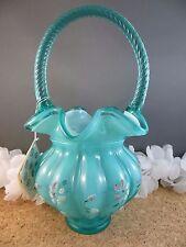 Vintage Artist Signed Fenton Turquoise Blue Art Glass Basket Enamel Flowers Tag