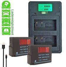 LOOKit LCD Duallader  + 2x BLC12 E für Panasonic Lumix FZ300 FZ1000 ii GX8M G81