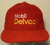 Vintage 1980s Delvac Mobil Gas Oil Corduroy SNAPBACK TRUCKER HAT CAP Made in USA