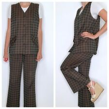 Vintage High Waist Flare Leg Pants with Vest Top Brown Plaid Hippy Mod Polyester