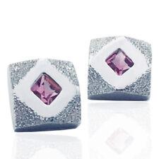 Orecchini quadrati mm 10x10 in argento 925 rodiato con lavorazione diamantata