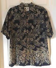 Men M.E. SPORT Black Beige Button Up Floral Hawaiian Shirt Top Sz Medium EUC