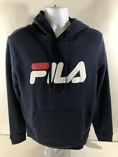 FILA Men's Classic Retro Spellout Logo Speed Hoodie Navy Blue Jacket LG NEW