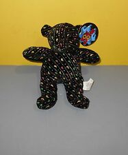 Black w/ Silver Sparkles Multi Colored Black Teddy Bear Bean Stuffed Plush