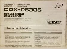 Pioneer Cdx-P630S Owner's Manual Multi 6 Cd Player Changer Car Audio Operation