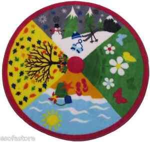 "Rug Area Rugs 100% Nylon Carpet Four Seasons 39""Rd Size Multi-Color Round Rug"