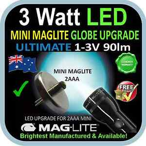 MAGLITE UPGRADE LED  MINI 2AAA  3W BULB GLOBE for FLASHLIGHT TORCH 1-3V 90+lm AU