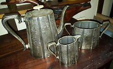 Antique Victorian AM & Co Silver Plated 3 Piece Engraved Tea Set Superb item