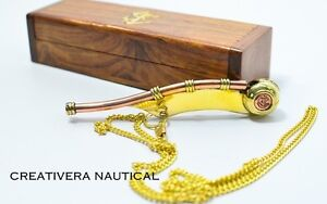 Brass Boatswain Nautical Brass Bosun Whistle Key Chain Handmade Gift Key Ring