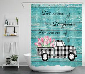 Buffalo Plaid Truck Tulip Shower Curtain Farmhouse Planks For Bathroom Decor