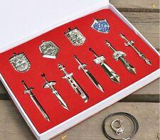 The Legend of Zelda Metal Shield & Sword Weapons Necklace Set of 11 Retail Box