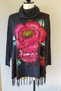 Desigual Women's Flower Print Cowl Neck & Fringes Tunic Top Size XL