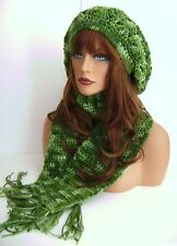 GREEN MULTI HAND CROCHET RASTA HAT AND SCARF SET BERET CLOCHE BAGGY SLOUCHY