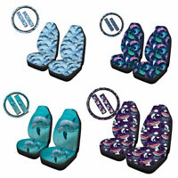 Dolphin Whale Car Seat Covers Full Set Auto Steering Wheel Cover Belt Pads 5 pcs