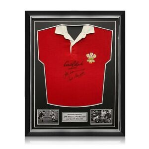 Wales Rugby Jersey Signed By Edwards, Williams And Bennett. Superior Frame