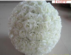 Large Ivory Rose Flower Ball Wedding Pomander Ball Kissing Ball 16 inches