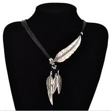 USA Boho Feather Leaf Lariat Necklace Bib Statement Womens Bohemian Jewelry Bead
