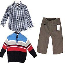 New NAUTICA 3 Piece Set Sweater Shirt Pants Size 12 M Blue Gray Toddler Boy