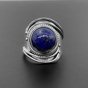 Lapis Lazuli Gemstone 925 Stamped Sterling Silver Ladies Ring Gemstone Jewellery