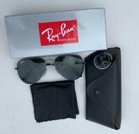 Rayban Black aviator Sunglasses Gunmetal gray Frame - UV protected - RB3026
