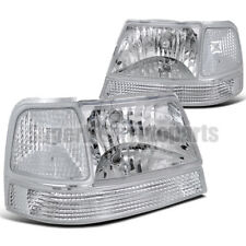 1998-2000 Ford Ranger Headlights+Signal Corner Lights Chrome w/ Clear reflector