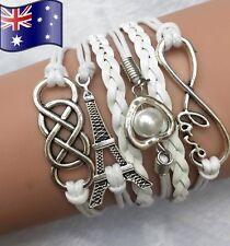 Infinity LOVE Heart Eiffel Tower Friendship Leather Charm Bracelet Silver