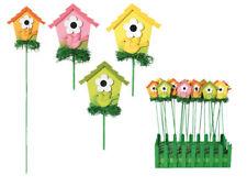 12x Holz Gartenstecker Motiv Vogelhaus Pflanzstecker Beetstecker Gartendeko