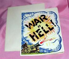 "VTG 1940 ""WAR IS HELL"" BEST WISHES, VERY STRANGE COMIC WWII UNUSED GREETING CARD"