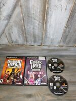 Playstation 2 Ps2 Lot 4 Guitar Hero  2 Regular Gutair Hero Legend Of Rock &...