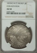 1835 NG-M Central American Republic 8 Reales NGC AU58 COIN ROTATION