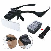 LED Licht Stirnlupe Kopflupe Lupenbrille Brillenlupe mit 5 Vergrößerungs CE