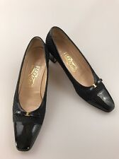Salvatore Ferragamo Low Heel Black Pumps Sz 7.5 AAAA Ghiotta Fabric Patent Toe