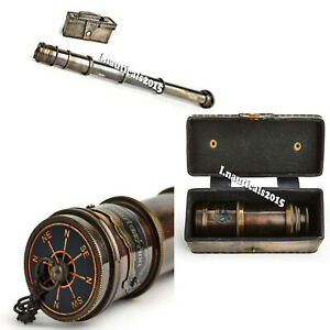 Antique Telescope Handheld Brass Leather Box Nautical Pirate Scope Spyglass