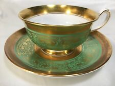 Royal Chelsea Green 'MIDAS' Heavy Gold Cup and Saucer - smooth rims