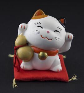 Figurina Gatto Giapponese 8cm Bianco Bras Sondaggi Made IN Maneki Neko 40674